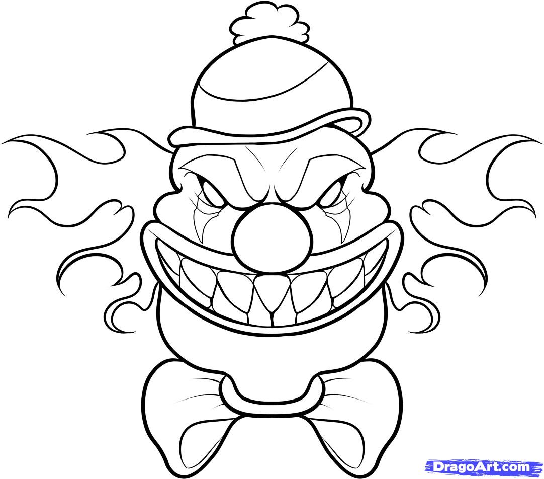 Evil Clown Kids Coloring 1082x952 How To Draw A Scary Step By Creatures Monsters