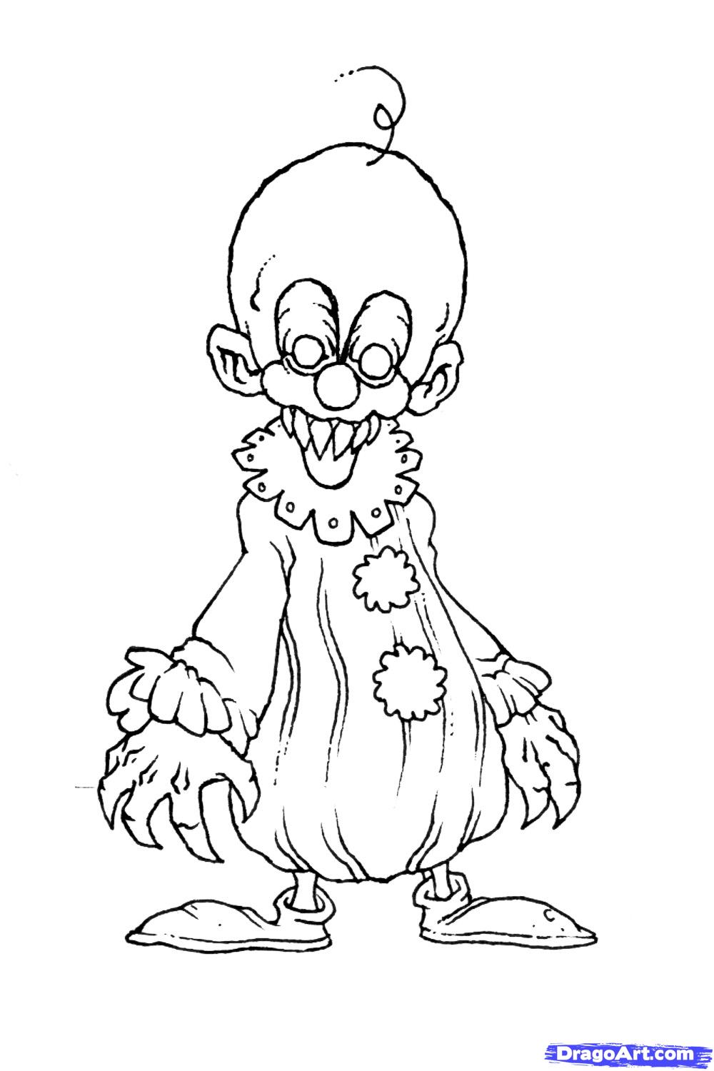 1000x1500 Scary Clown Pictures To Color Coloring Pages Kids And