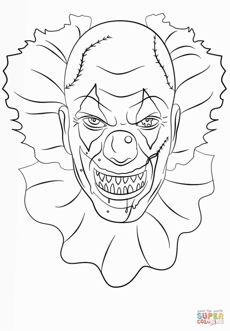 741x1066 Scary Clown Coloring Pages Coloring Pages Scary