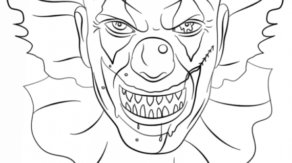 570x320 Scary Clowns Drawings Scary Clown Coloring Sheets