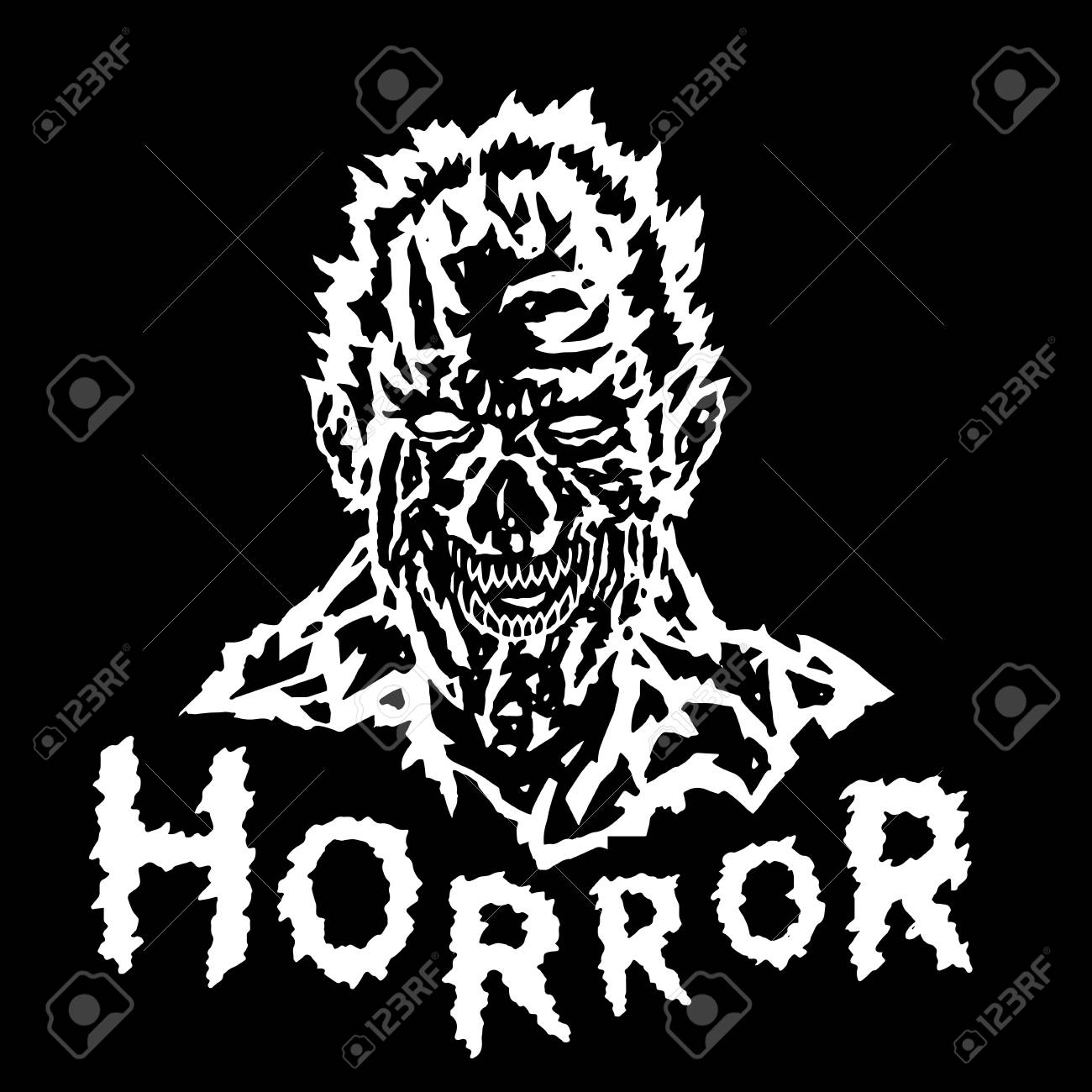 1300x1300 Evil Demonevil Demon Head With Torn Face. Vector Illustration