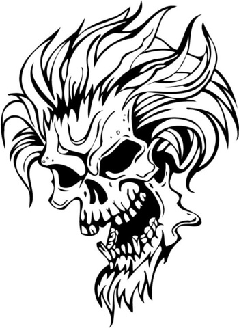 350x480 Evil Skull With Hair Coloring Page Free Printable Coloring Pages