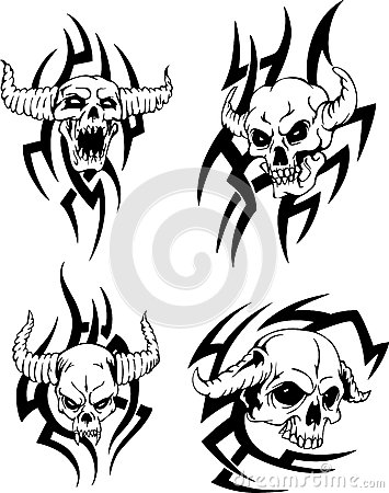 355x450 Evil Skulls Devil Set Black White Vector Illustrat By Darkgirl93