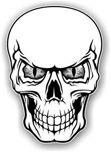 219x300 Large Realistic Gothic Skull With Cool Grey Evil Eyes Vinyl Car