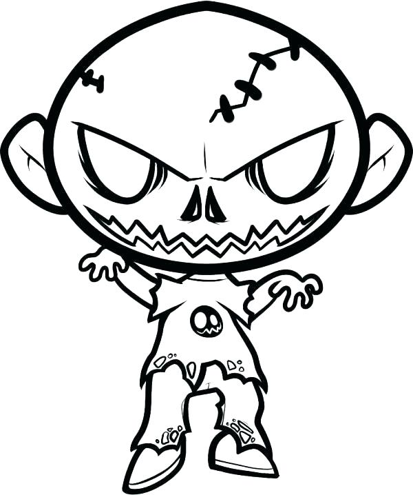 600x718 Scary Coloring Pages Scary Joker With Knife Coloring Page Scary