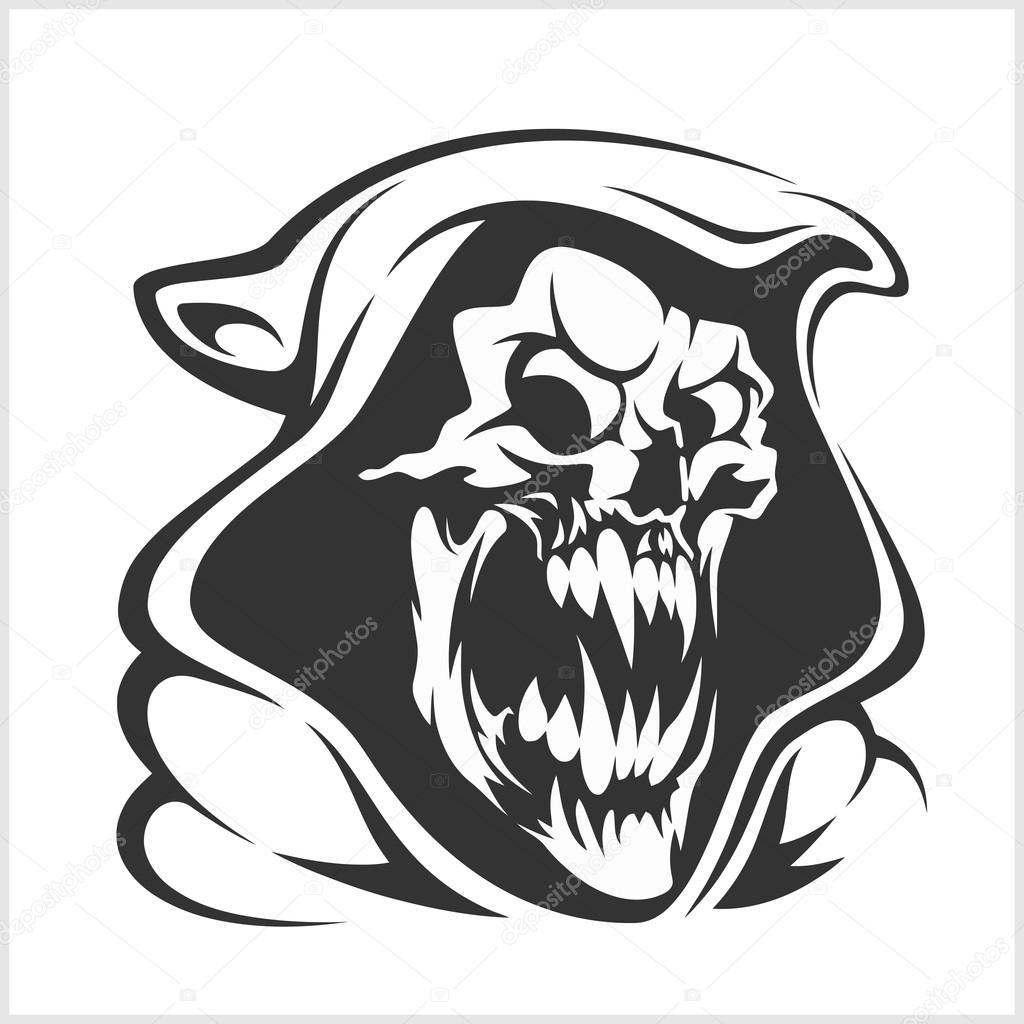 1024x1024 Death Sign Vector. Horror, Evil Scythe , Ghost Skeleton