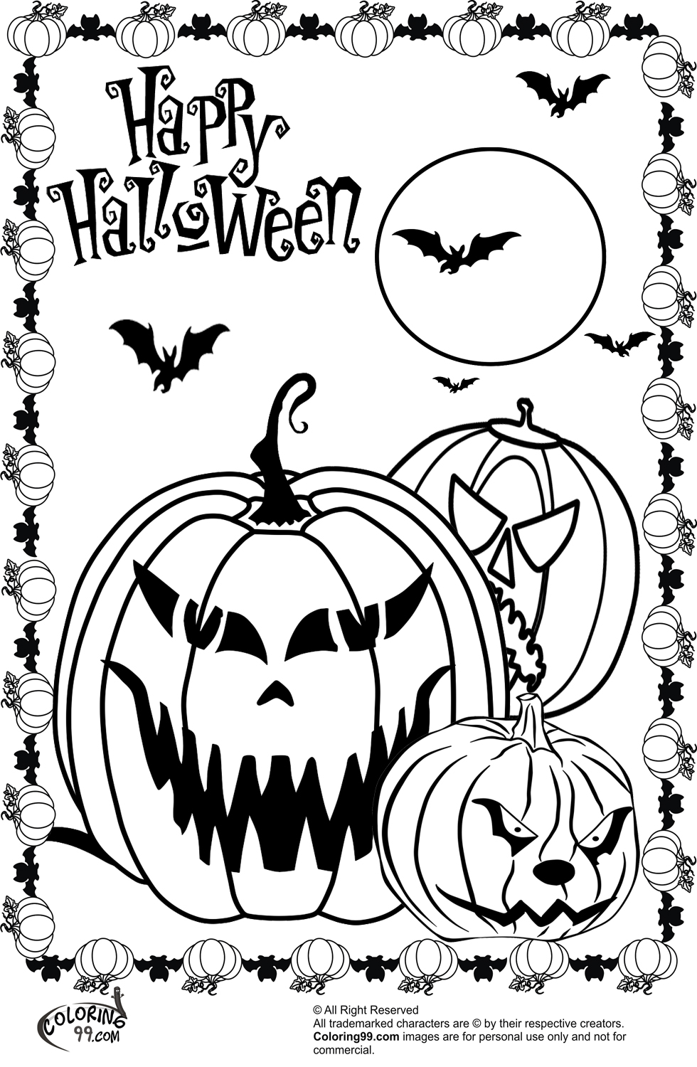 Evil Pumpkin Coloring Pages - Worksheet & Coloring Pages