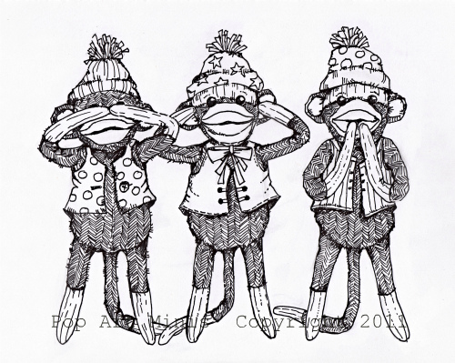 500x399 Pop Art Minis A Silly Sock Monkey Trio See No Evil , Hear No