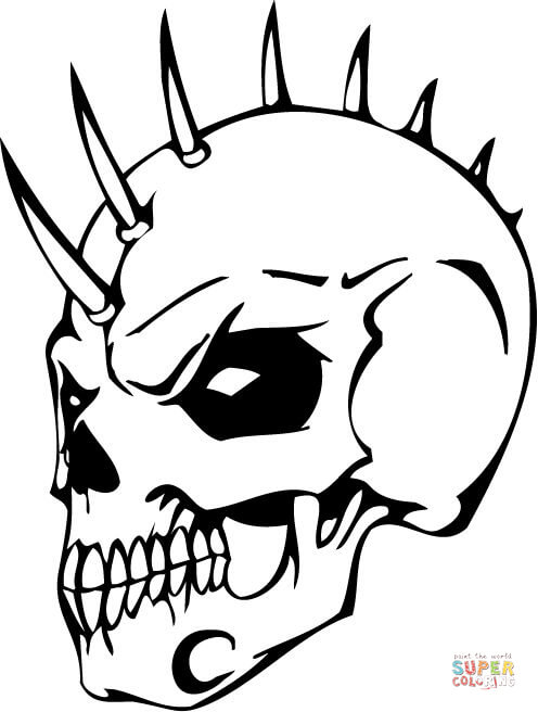 496x656 Evil Skull With Bonehawk Coloring Page Free Printable Coloring Pages