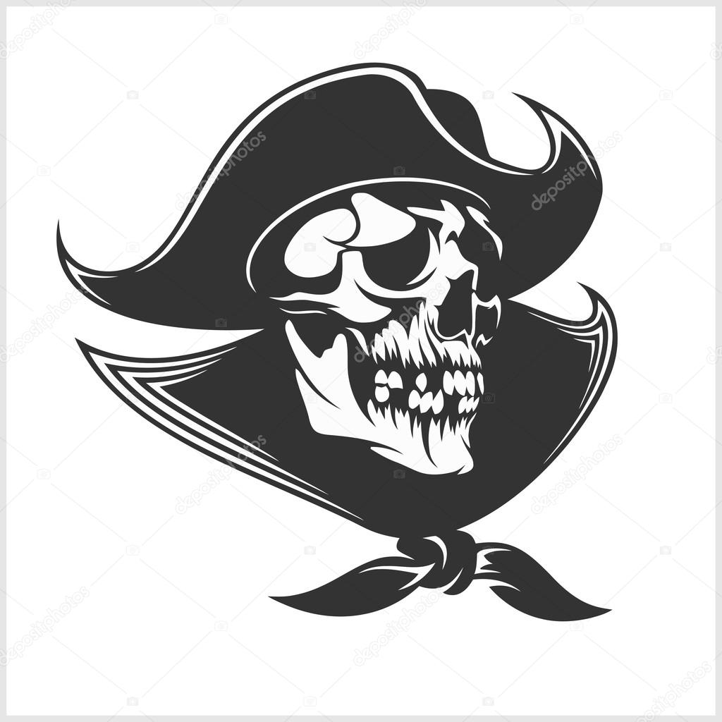 1024x1024 Evil Skull Vector. Dark T Shirt Design. Pirate Insignia Concept