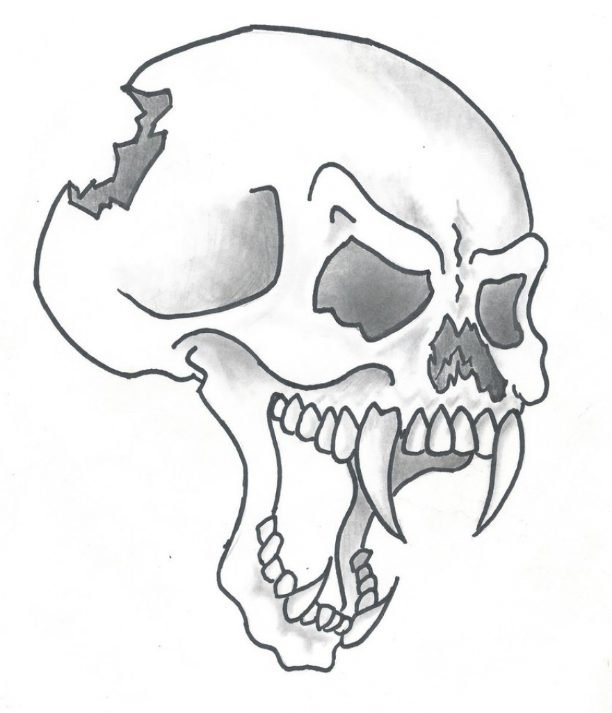 880x1024 Cool Skulls Drawings In Pencil Evil Skull Drawing