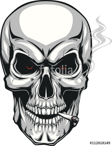 382x500 Evil Skull With Cigarette Stock Image And Royalty Free Vector