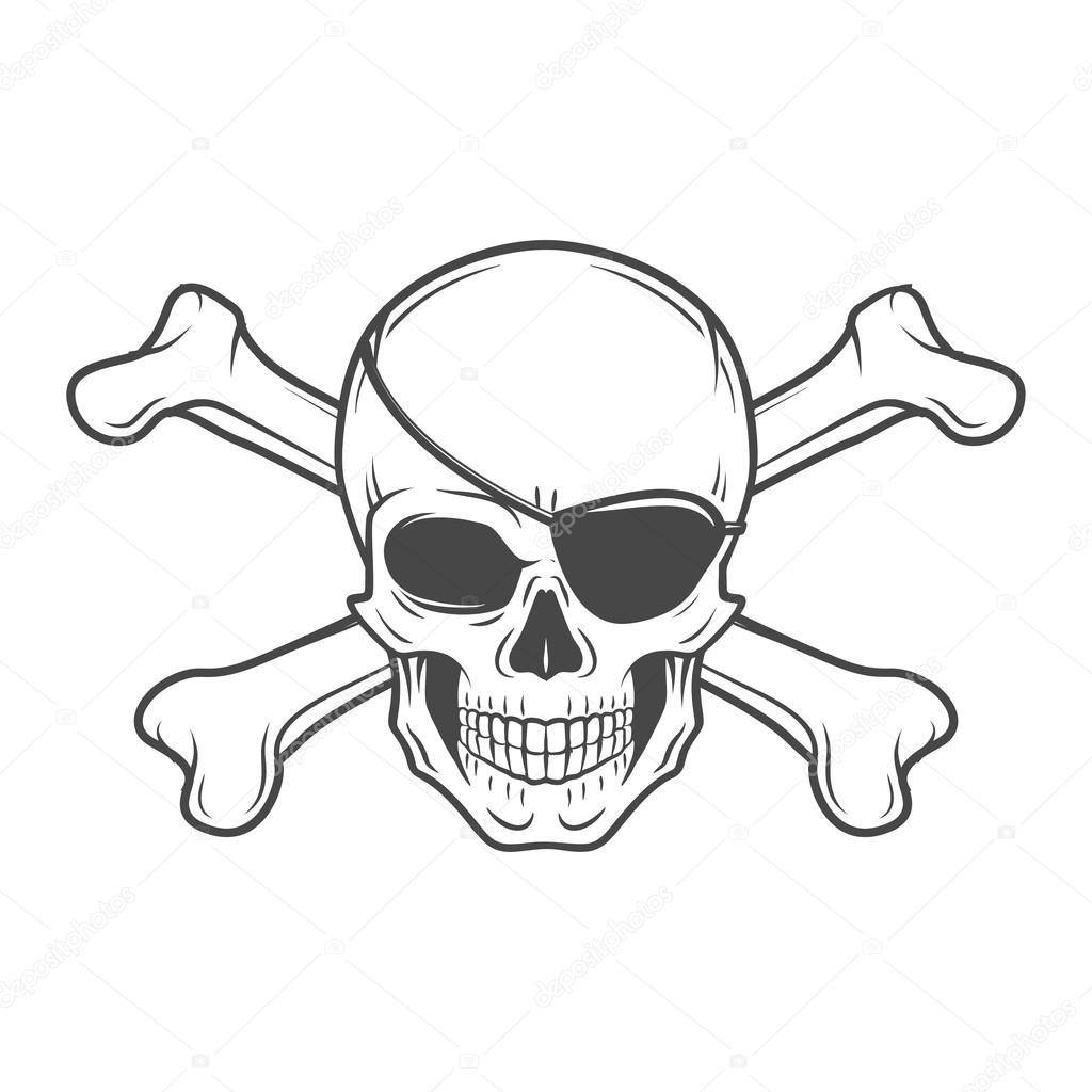 1024x1024 Jolly Roger With Eyepatch And Crossbones Logo Template. Evil Skull