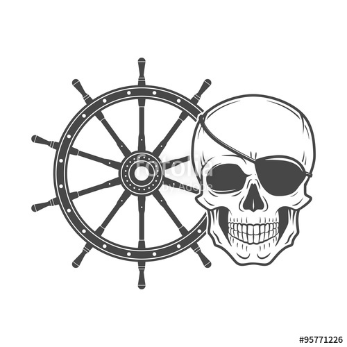 500x500 Jolly Roger With Eyepatch Logo Template. Evil Skull Vector. Dark T