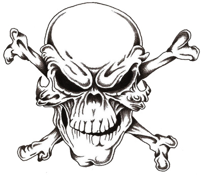 400x344 Evil Skull And Crossbones Cool Eyecatching Tatoos Art I Love