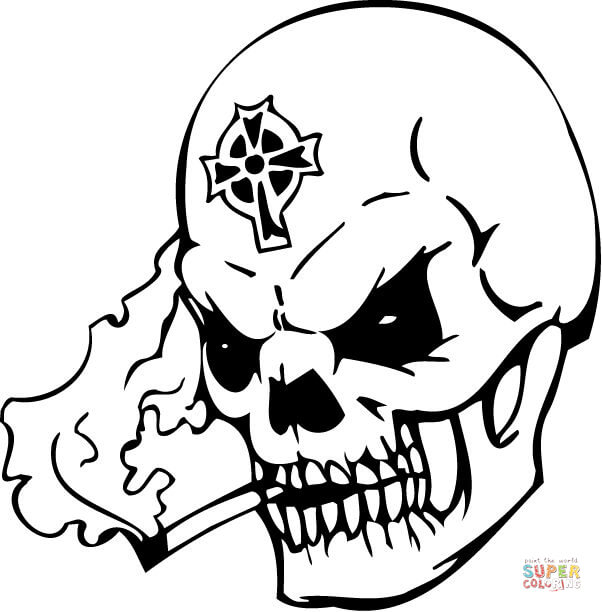 602x612 Evil Skull Smoking A Pipe Coloring Page Free Printable Coloring