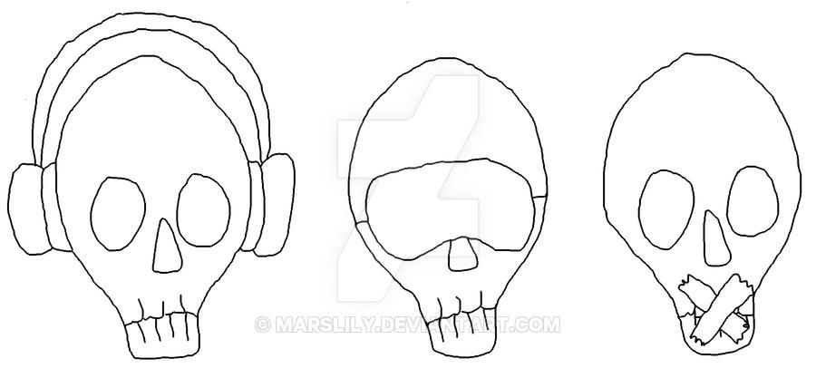 900x417 Hear No Evil, See No Evil, Speak No Evil Skulls By Marslily