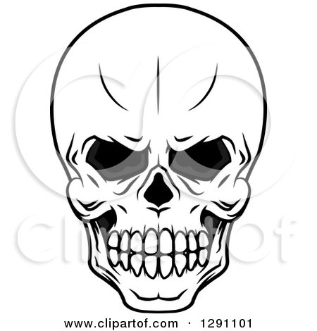 450x470 Clipart Of A Black And White Evil Human Skull