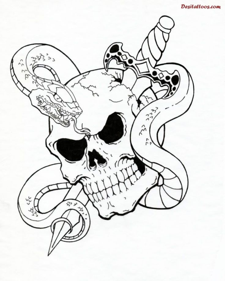 736x920 Collection Of Born Evil Sword Skull Tattoo Design