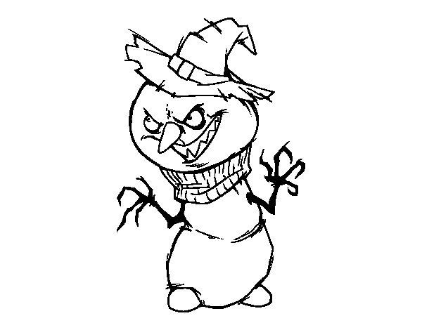 600x470 Evil Snowman Coloring Page