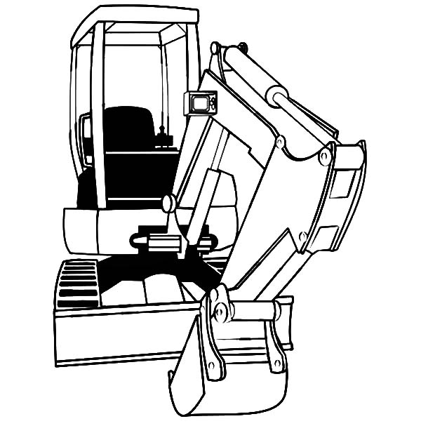 600x627 Mini Excavator Coloring Pages