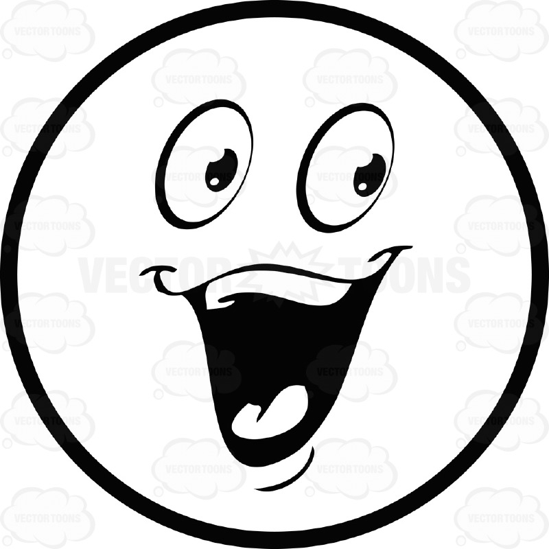 800x800 Excited Face Clipart Black And White