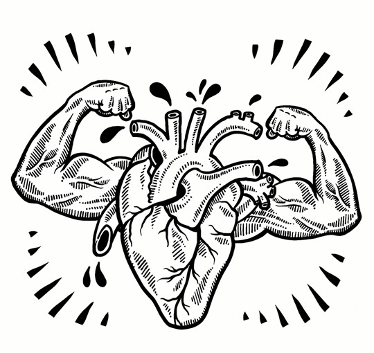 540x510 Doodle Style Drawing Of A Muscular Heart Indicating Fitness Health