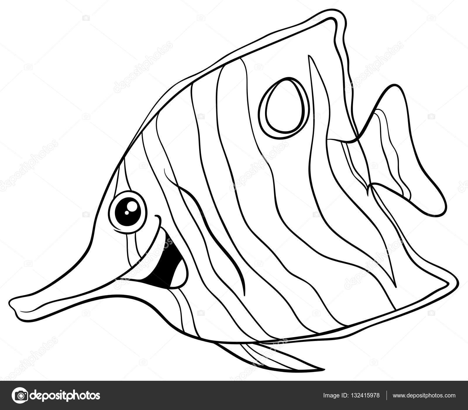 1600x1402 Exotic Fish Coloring Book Stock Vector Izakowski