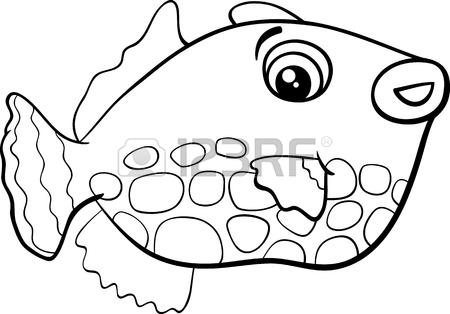 450x314 Black And White Cartoon Illustration Of Exotic Fish Animal