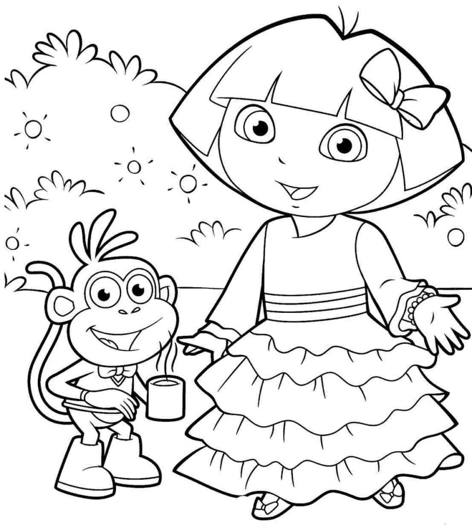 920x1024 Dora The Explorer Drawings Dora The Explorer Coloring Kids