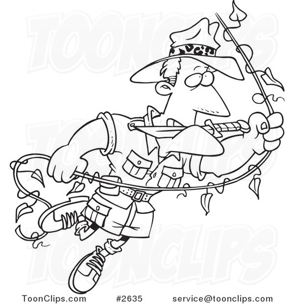 581x600 Cartoon Black And White Line Drawing Of An Explorer Guy Swinging