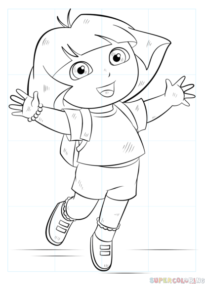 415x575 How To Draw Dora The Explorer Step By Step Drawing Tutorials