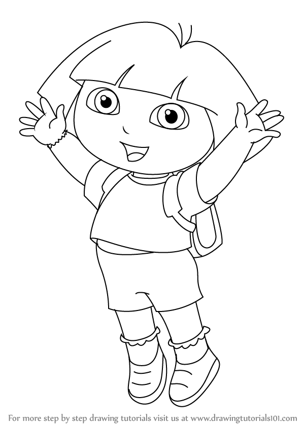 597x847 Learn How To Draw Dora Marquez From Dora Explorer (Dora