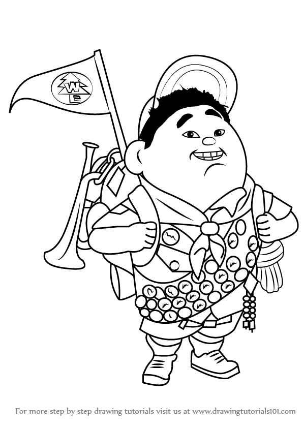 598x844 Learn How To Draw Russell Wilderness Explorer From Up (Up) Step By