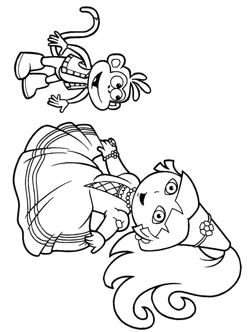 847x1127 Cool Princess Dora The Explorer Coloring Pages And Monkey