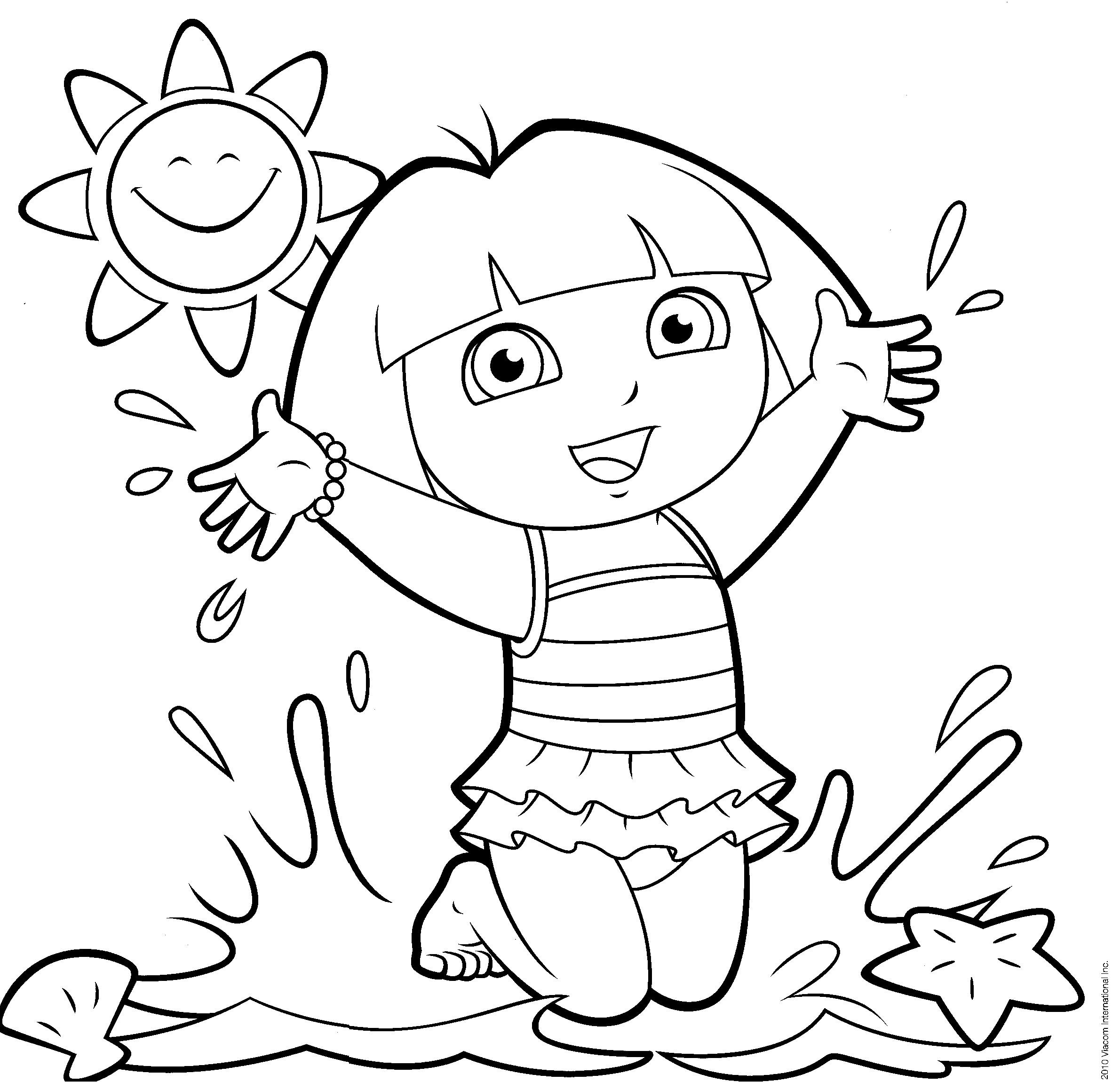 2381x2301 Dora The Explorer Happy Birthday Coloring Pages Free Draw To Color