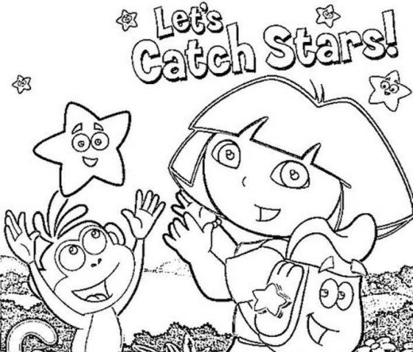 600x511 Dora The Explorer And Little Star Coloring Page Preschool To Cure
