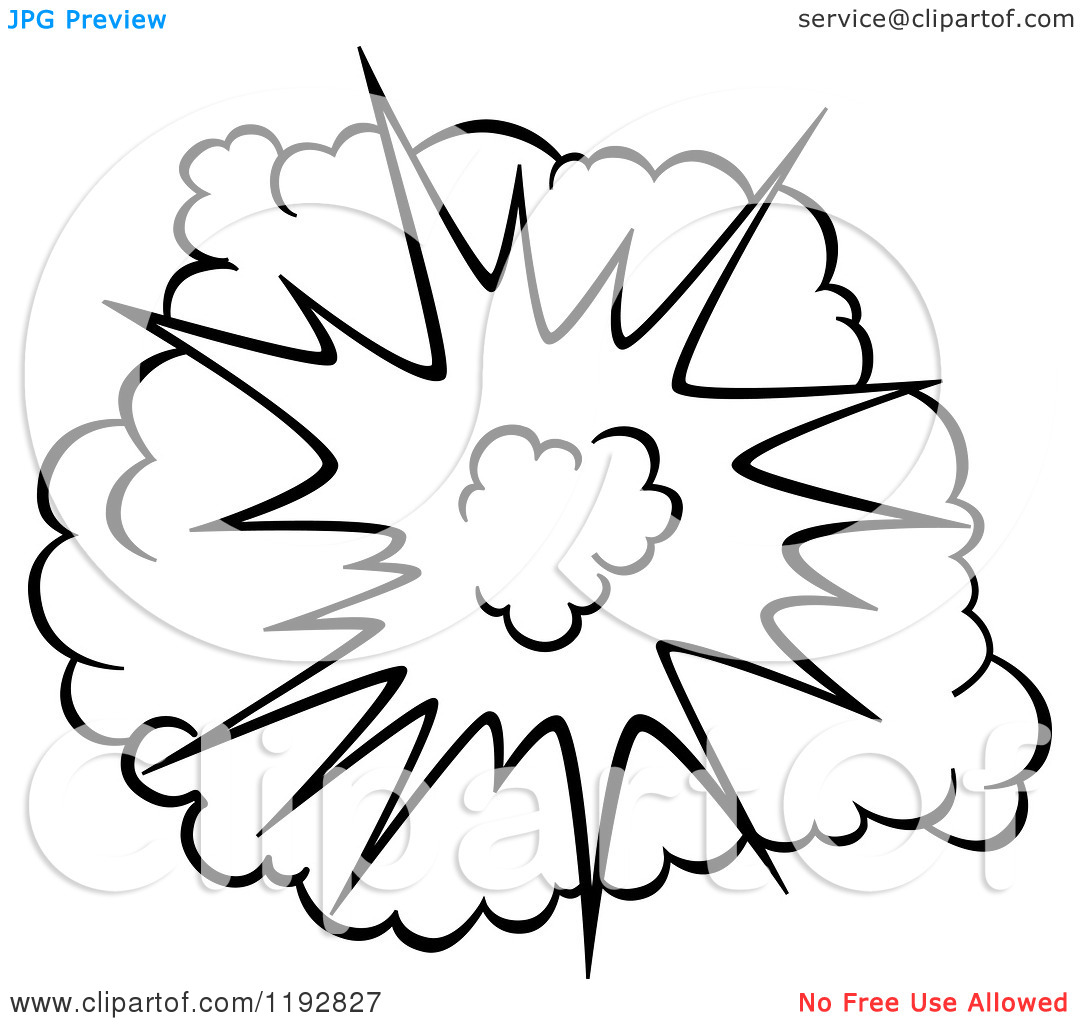 1080x1024 Clipart Of A Black And White Comic Burst Explosion Or Poof 4