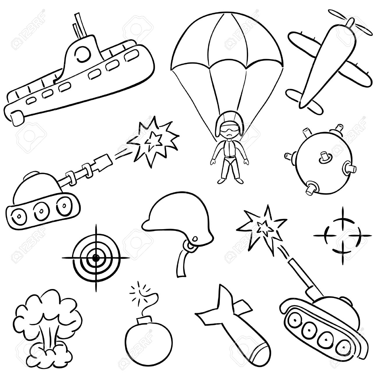 1300x1300 Hand Drawn Doodles On The War Themes Royalty Free Cliparts