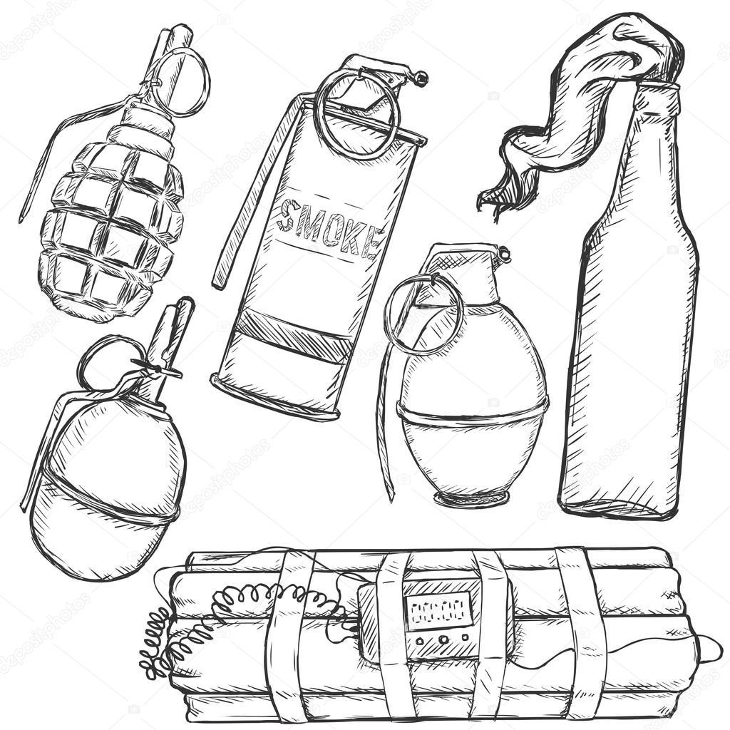 1024x1024 Sketch Set Of Explosive Weapons Stock Vector Nikiteev
