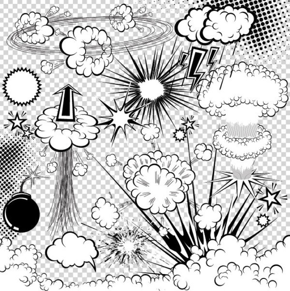 599x600 Cartoon Explosion Pattern 03 Vector Free Vector In Encapsulated