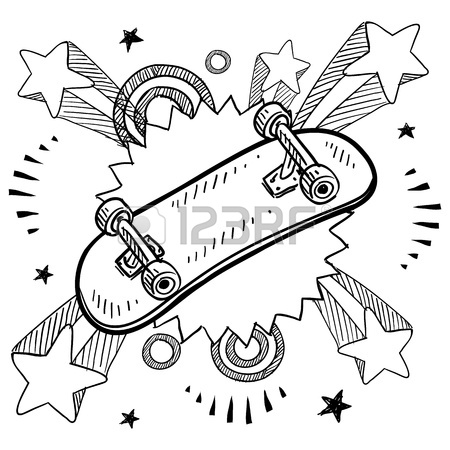 450x450 Doodle Style Sketch Of A Skateboard With Pop Explosion Background