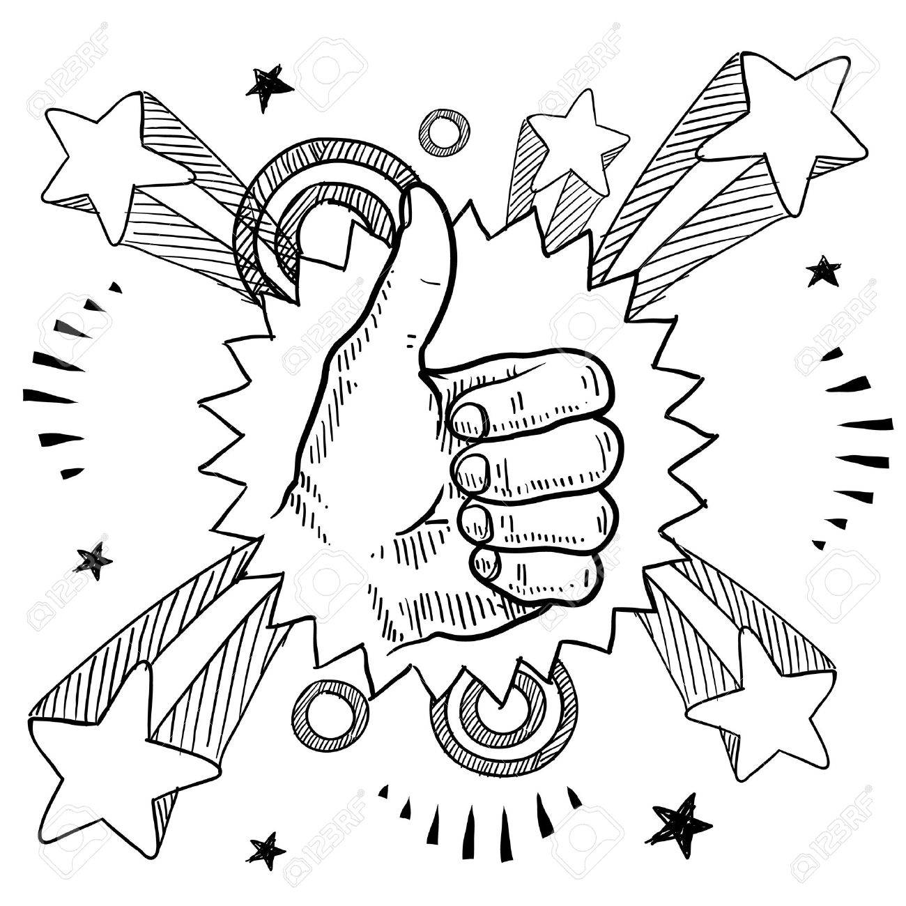 1300x1300 Doodle Style Sketch Of A Thumbs Up Sign With Pop Explosion