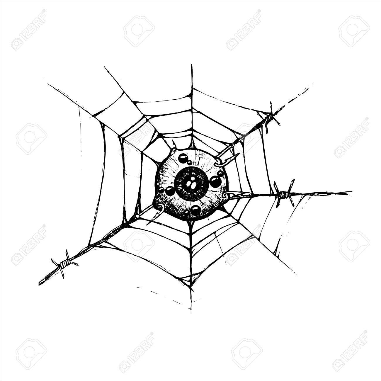 1300x1300 Eyeball Is Attached To The Spider Web And Barbed Hook