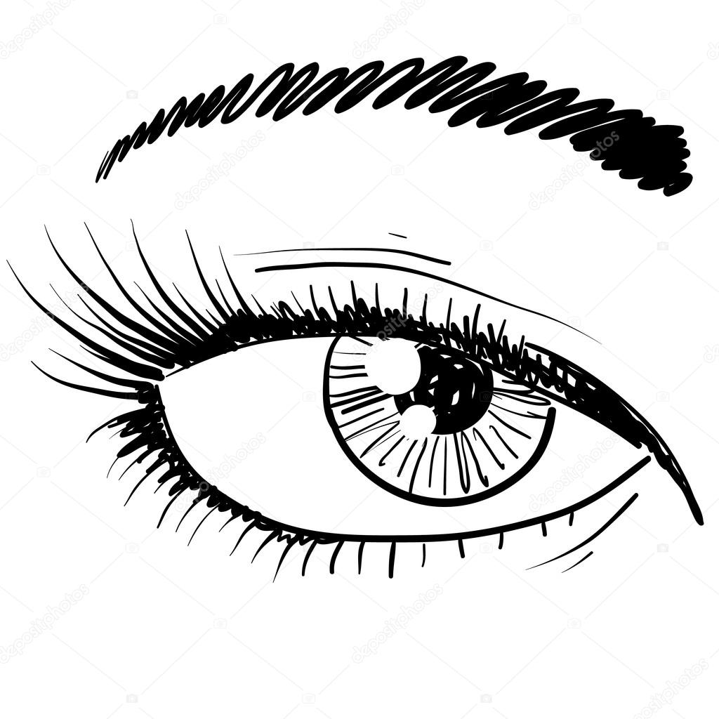 1024x1024 Closeup Of The Human Eye Sketch Stock Vector Lhfgraphics