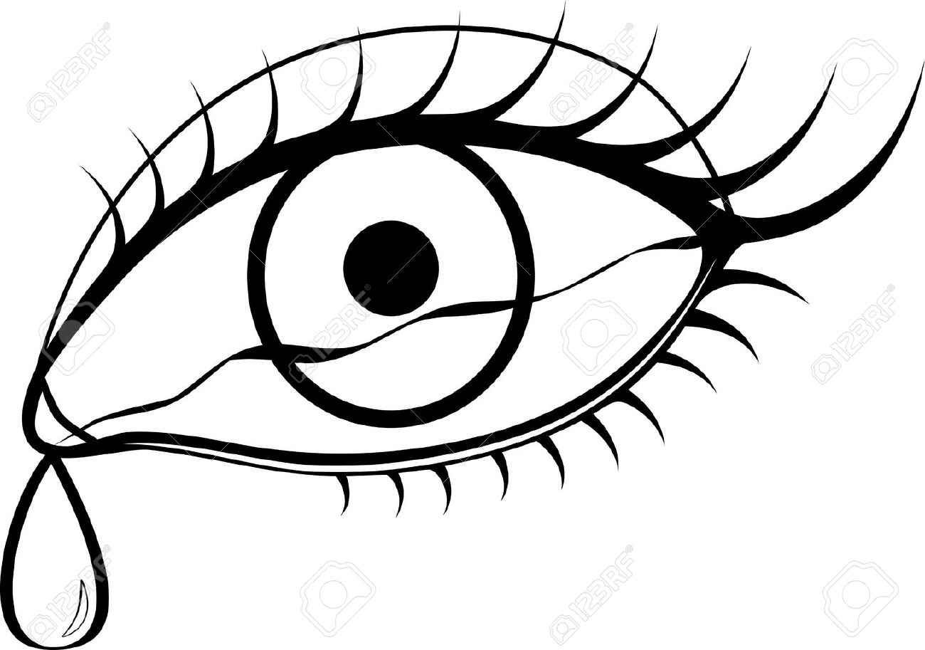 1300x913 Black And White Eyes With Tears Royalty Free Cliparts, Vectors