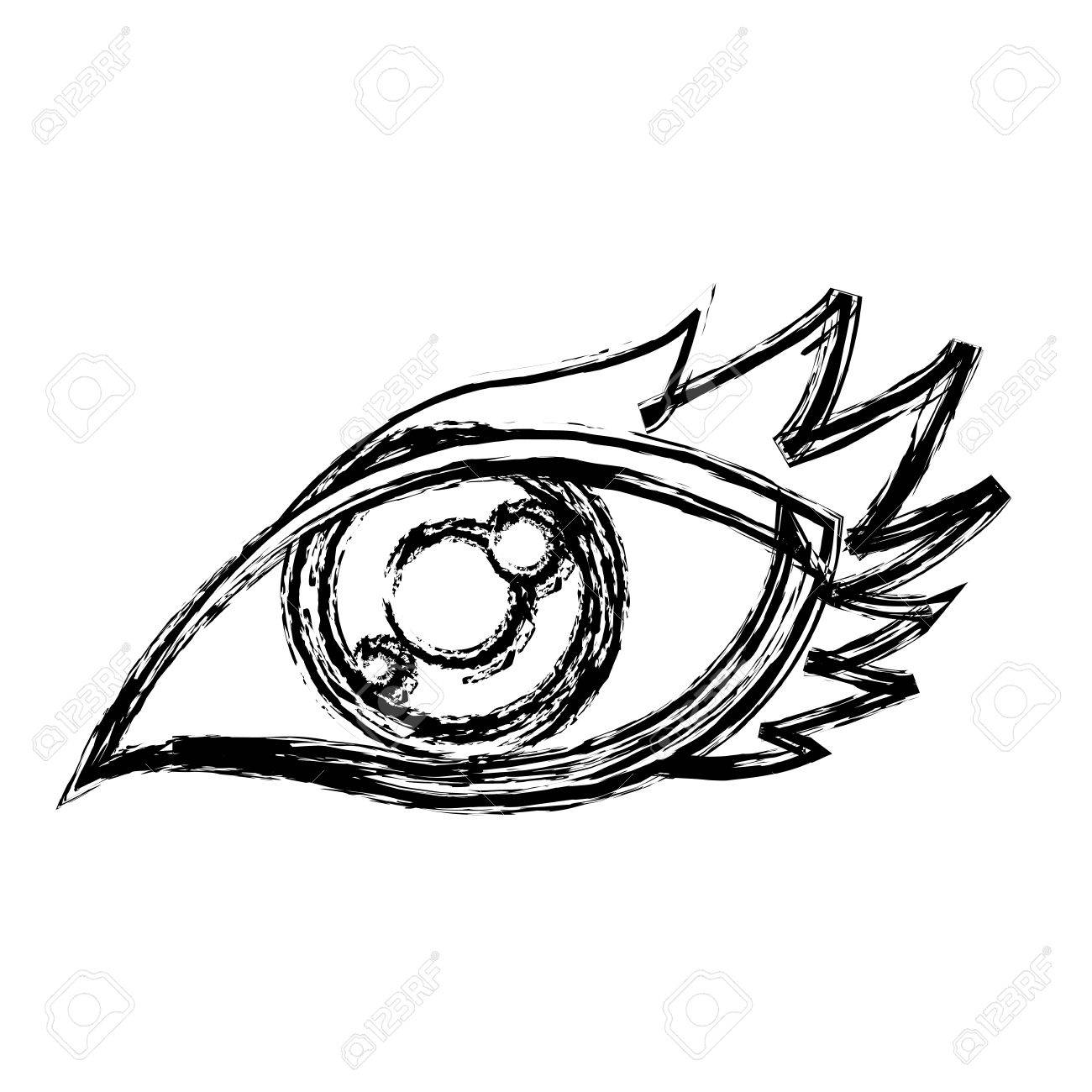1300x1300 Cartoon Eye Human Look Watch Icon Vector Illustration Royalty Free