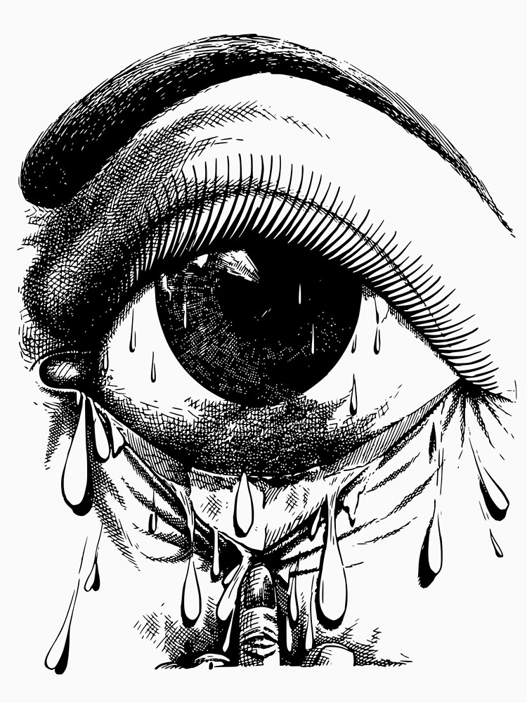 750x1000 The Crying Eye Scary Horror Tshirt Women's Fitted Scoop T Shirt