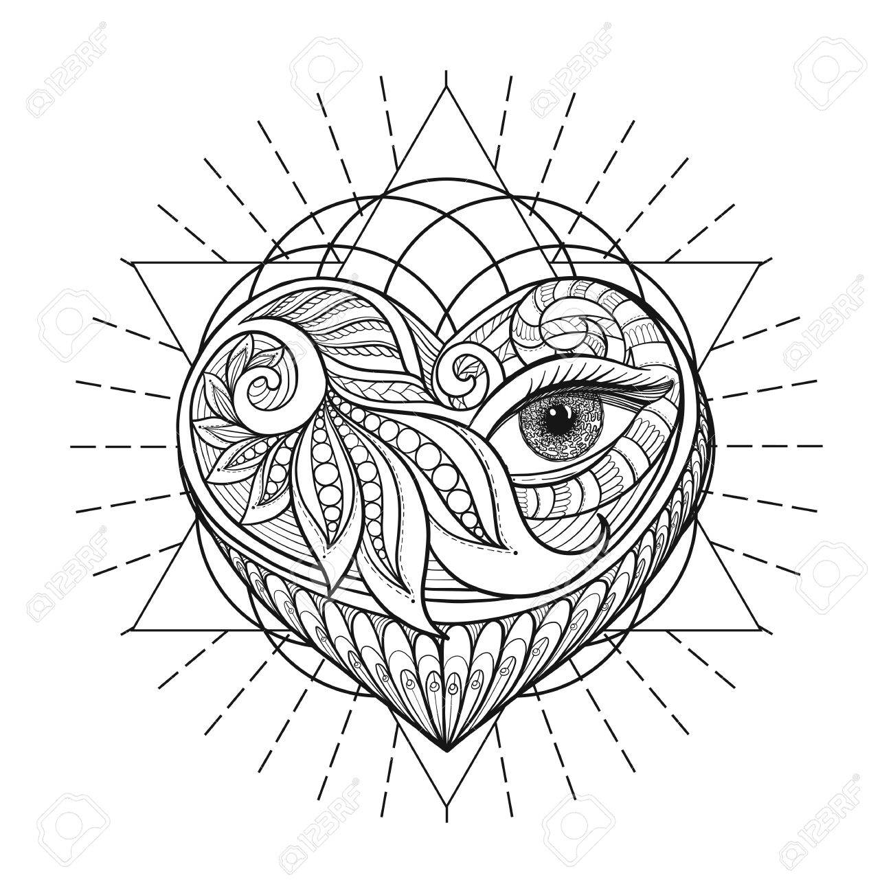 1300x1300 Vector Ornamental Love Heart, Sacred Geometry, Eye. Hand Drawn