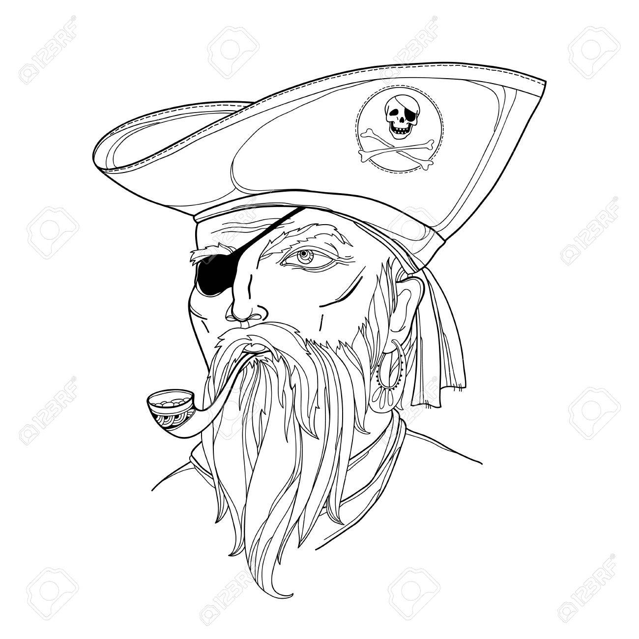 1300x1300 Vector Portrait Of Bearded Pirate Face With Tobacco Pipe Isolated
